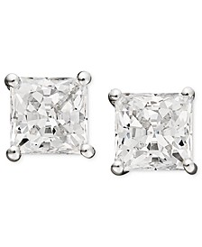 14k White Gold Earrings, Swarovski Zirconia Princess-Cut Stud Earrings (3-3/4-9-3/4 ct. t.w.)