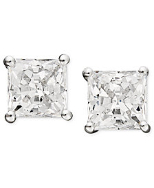 Arabella 14k White Gold Earrings, Swarovski Zirconia Princess-Cut Stud Earrings (3-3/4-9-3/4 ct. t.w.)