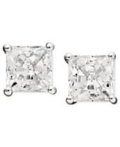 2d6f76ba2 Arabella 14k White Gold Earrings, Swarovski Zirconia Princess Cut Stud  Earrings (2-3