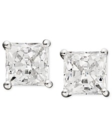 Arabella 14k White Gold Earrings, Swarovski Zirconia Princess Cut Stud Earrings (2-3/4 ct. t.w.)