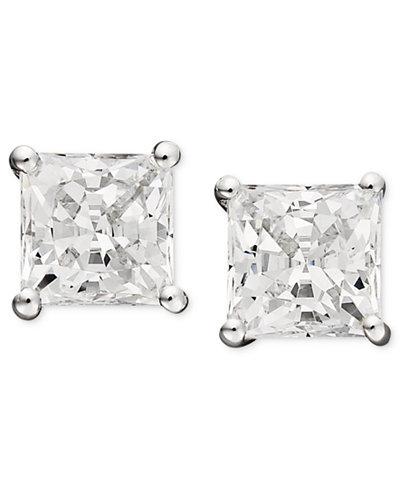 Arabella 14k White Gold Earrings, Swarovski Zirconia Princess-Cut Stud Earrings (3-3/4-9-3/4 ct. t.w.)