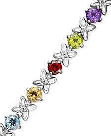Sterling Silver Multi-Stone (7-5/8-9 ct. t.w.) and Diamond Accent Flower Bracelet