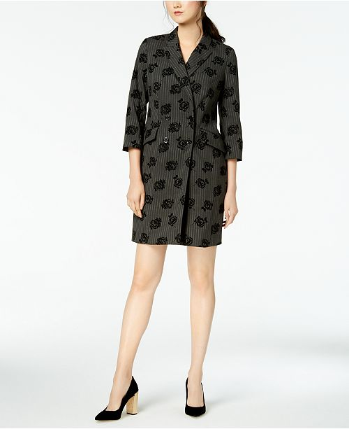 Mixed-Print Double-Breasted Blazer Dress