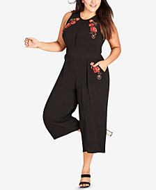 City Chic Trendy Plus Size Embroidered Cropped Jumpsuit