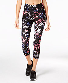 Calvin Klein Performance Printed Mesh-Inset Compression Cropped Leggings