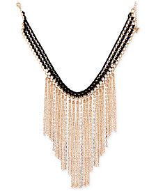 "GUESS Gold-Tone Crystal & Fringe Fabric-Weaved Statement Necklace, 16"" + 2"" extender"