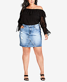 City Chic Trendy Plus Size Fray-Hem Mini Skirt