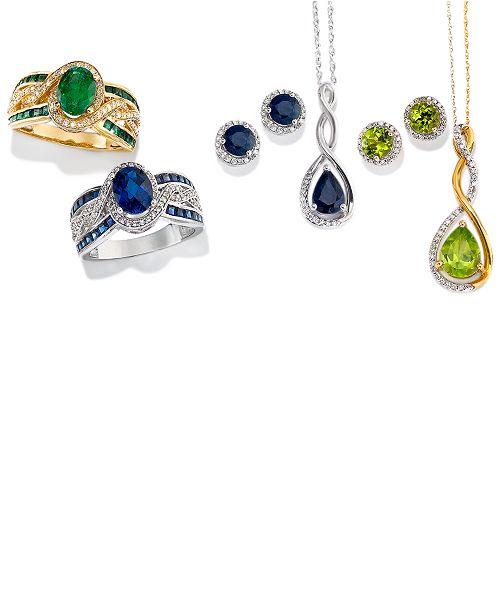 60aacd362 Macy's Birthstone & Diamond (1/8 ct. t.w.) Halo Stud Earrings in 14k ...