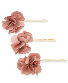 I.N.C. Gold-Tone 3-Pc. Set Chiffon Flower Bobby Pins, Created for Macy's