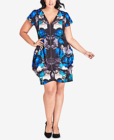 City Chic Trendy Plus Size Electric Rose Printed Dress