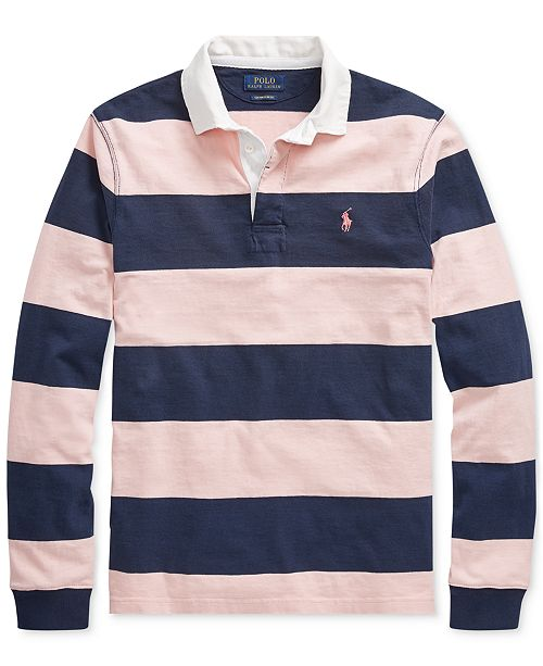 Custom Pink Pony Polo Striped Lauren Men's Slim Rugby Ralph Fit wPnO80k