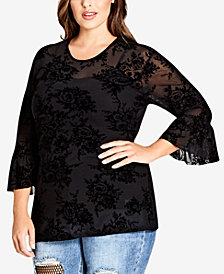 City Chic Trendy Plus Size Flocked Top