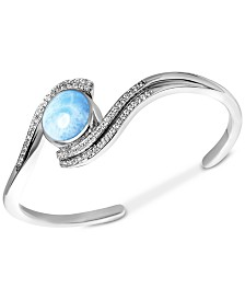 Marahlago Larimar & White Sapphire (3/8 ct. t.w.) Cuff Bracelet in Sterling Silver