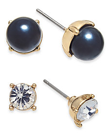 Charter Club Gold-Tone 2-Pc. Set Crystal & Colored Imitation Pearl Stud Earrings, Created for Macy's