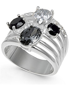 Charter Club Silver-Tone Crystal & Stone Multi-Row Ring, Created for Macy's