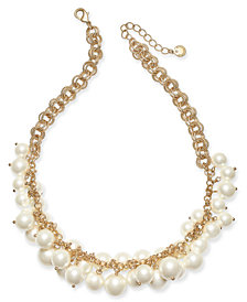 "Charter Club Gold-Tone Shaky Faux Pearl Collar Necklace, 17' + 2"" extender, Created for Macy's"