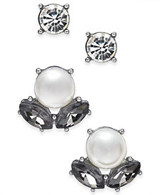 Charter Club Silver-Tone 2-Pc. Set Imitation Pearl & Stone and Crystal Stud Earrings, Created for Macy's