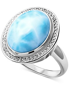 Larimar & White Sapphire (1/5 ct. t.w.) Ring in Sterling Silver