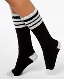 Charter Club Women's Fuzzy Cozy Varsity Stripe Knee-High Socks, Created for Macy's