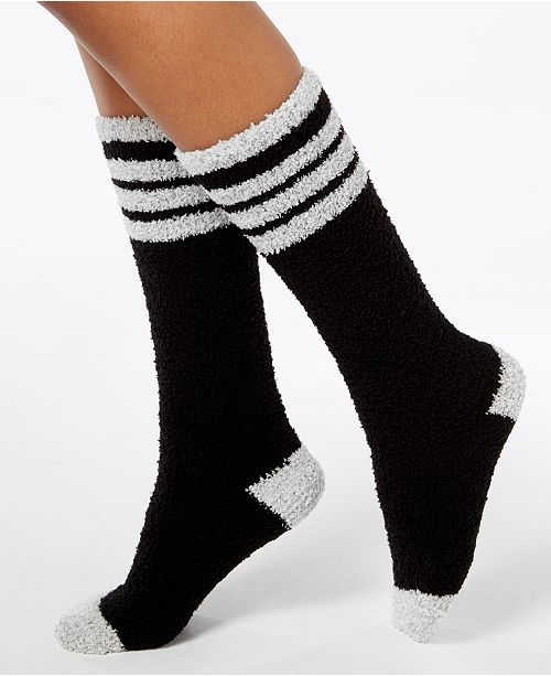 Charter Club Women's Fuzzy Cozy Varsity Stripe Knee-High Socks, Created for Macy's