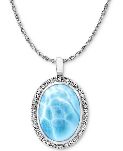"""Marahlago Larimar & White Sapphire (1/4 ct. t.w.)  21"""" Pendant Necklace in Sterling Silver"""