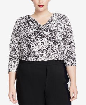 RACHEL RACHEL ROY Trendy Plus Size Cowl-Neck Top in Black Combo