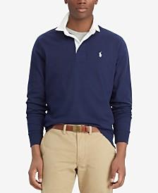 폴로 랄프로렌 맨 아이코닉 럭비 셔츠 - 네이비, 화이트 (클래식 핏) Polo Ralph Lauren Mens The Iconic Rugby Classic Fit Shirt