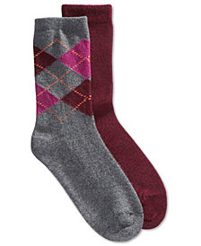 HUE® 2-Pk. Argyle & Solid Boot Socks
