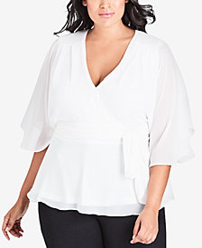 City Chic Trendy Plus Size Elegant Sheer-Sleeve Wrap Top