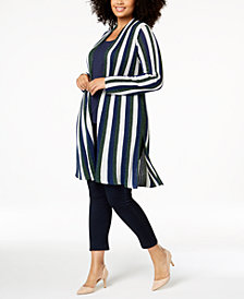 I.N.C. Plus Size Striped Metallic Completer Sweater, Created for Macy's