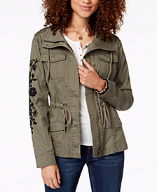 American Rag Juniors' Embroidered Cargo Jacket, Created for Macy's