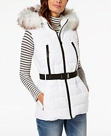 MICHAEL Michael Kors Active Faux-Fur-Trim Belted Vest