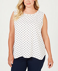 Anne Klein Plus Size Printed Sleeveless Blouse