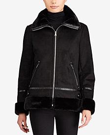 Lauren Ralph Lauren Zip-Front Faux-Shearling Moto Jacket