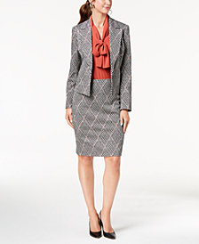 Nine West Printed Jacket, Tie-Neck Shell & Pencil Skirt