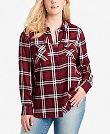 Jessica Simpson Trendy Plus Size Plaid Button-Front Shirt