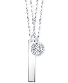 "Unwritten 2-Pc. Set Crystal Disc & Polished Bar Pendant Necklaces in Sterling Silver, 16"" + 2"" extenders"