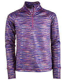 Ideology Big Girls Plus Space-Dyed Quarter-Zip Jacket, Created for Macy's