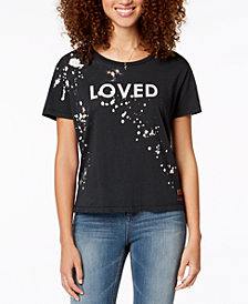 Peace Love World Paint Splatter Love Graphic T Shirt