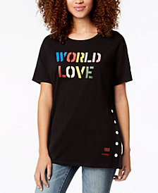 PEACE LOVE WORLD Side-Snap Love-Graphic T-Shirt