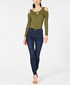 Sage The Label Ribbed Cold-Shoulder Bodysuit