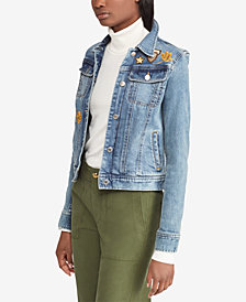 Lauren Ralph Lauren Embroidered Patch Denim Cotton Jacket