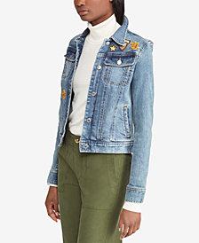 Lauren Ralph Lauren Embroidered Patch Denim Cotton Jacket