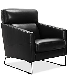 Neriah Leather Accent Chair Created For Macyu0027s Black Leather Chair3
