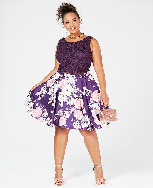 City Studios Trendy Plus Size 2 Pc Printed Lace A Line Dress