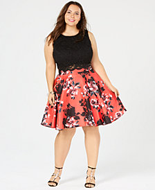 City Studios Trendy Plus Size 2-Pc. Printed Lace A-Line Dress