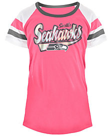 5th & Ocean Seattle Seahawks Pink Foil T-Shirt, Girls (4-16)