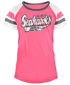 5th & Ocean Seattle Seahawks Pink Foil T-Shirt, Girls (4-16)