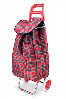 Rolling Shopping Cart, Red Plaid