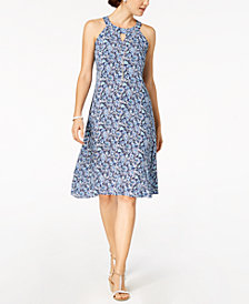 NY Collection Petite Printed Keyhole-Neck Trapeze Dress with Necklace